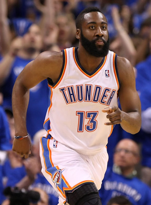 OKLAHOMA CITY, OK - MAY 23:  James Harden #13 of the Oklahoma City Thunder reacts in the first half while taking on the Dallas Mavericks in Game Four of the Western Conference Finals during the 2011 NBA Playoffs at Oklahoma City Arena on May 23, 2011 in O