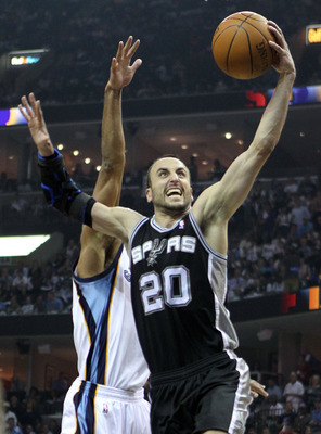 MEMPHIS, TN - APRIL 23:  Manu Ginobili #3 of the San Antonio Spurs shoots the ball during the game against the Memphis Grizzlies in Game three of the Western Conference Quarterfinals in the 2011 NBA Playoffs at FedExForum on April 23, 2011 in Memphis, Ten