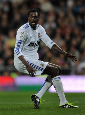 MADRID, SPAIN - FEBRUARY 06:  Emanuel Abadayour of Real Madrid reacts during the la Liga match between Real Madrid and Real Sociedad at Estadio Santiago Bernabeu on February 6, 2011 in Madrid, Spain.  (Photo by Jasper Juinen/Getty Images)