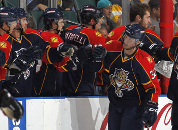 SUNRISE, FL - MARCH 31: Michal Repik #32 of the Florida Panthers is congratulated after scoring a goal against the Ottawa Senators on March 31, 2011 at the BankAtlantic Center in Sunrise, Florida. (Photo by Joel Auerbach/Getty Images)