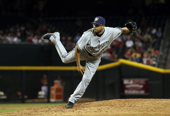 PHOENIX, AZ - JULY 20:  Relief pitcher Francisco Rodriguez #57 of the Milwaukee Brewers pitches against the Arizona Diamondbacks during the Major League Baseball game at Chase Field on July 20, 2011 in Phoenix, Arizona. The Brewers defeated the Diamondbac