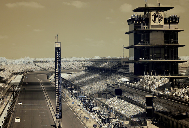 INDIANAPOLIS, IN - JULY 31:  (EDITORS NOTE: AN INFRARED CAMERA WAS USED TO CREATE THIS IMAGE)  Cars race down the frontstretch during the NASCAR Sprint Cup Series Brickyard 400 at Indianapolis Motor Speedway on July 31, 2011 in Indianapolis, Indiana.  (Ph
