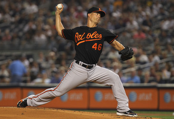 NEW YORK, NY - JULY 29: Jeremy Guthrie #46 of the Baltimore Orioles pitches against the New York Yankees on July 29, 2011 at Yankee Stadium in the Bronx borough of New York City.  (Photo by Nick Laham/Getty Images)