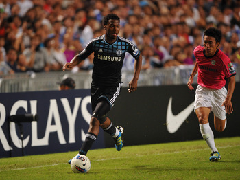 SO KON PO, HONG KONG - JULY 27:  Daniel Sturridge of Chelsea controls the ball during the Asia Trophy pre-season friendly match between Kitchee and Chelsea at Hong Kong Stadium on July 27, 2011 in So Kon Po, Hong Kong.  (Photo by Raf Sanchez/Getty Images)