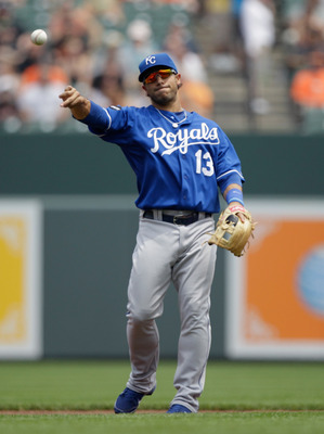 BALTIMORE, MD - MAY 26: Mike Aviles #13 of the Kansas City Royals in action against the Baltimore Orioles at Oriole Park at Camden Yards on May 26, 2011 in Baltimore, Maryland.  (Photo by Rob Carr/Getty Images)