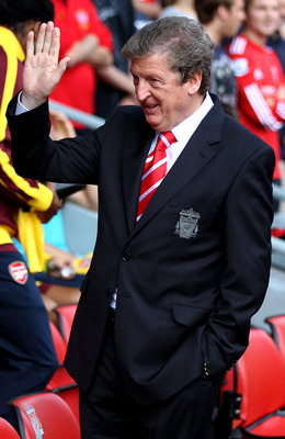 LIVERPOOL, ENGLAND - AUGUST 15:  Liverpool Manager Roy Hodgson waves to the crowd  prior to the Barclays Premier League match between Liverpool and Arsenal at Anfield on August 15, 2010 in Liverpool, England.  (Photo by Clive Brunskill/Getty Images)