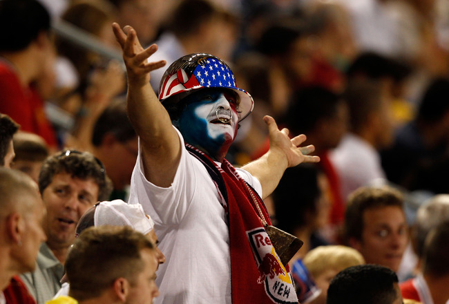HARRISON, NJ - JULY 27:  A fan reacts during the first half of the game between the MLS All-Stars and the Manchester United during the MLS All-Star Game at Red Bull Arena on July 27, 2011 in Harrison, New Jersey.  (Photo by Mike Stobe/Getty Images for the