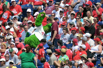 PHILADELPHIA, PA - JULY 31: The Philly Phanatic clowns around with the crowd during the game between the Pittsburgh Pirates and Philadelphia Phillies at Citizens Bank Park on July 31, 2011 in Philadelphia, Pennsylvania. (Photo by Drew Hallowell/Getty Imag