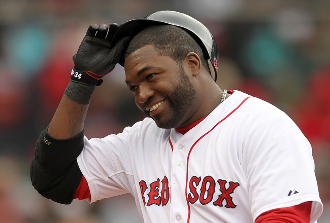 BOSTON, MA - APRIL 16, 2011:  David Ortiz #34 of the Boston Red Sox reacts in the seventh inning against the Toronto Blue Jays at Fenway Park April 16, 2011 in Boston, Massachusetts. (Photo by Jim Rogash/Getty Images)