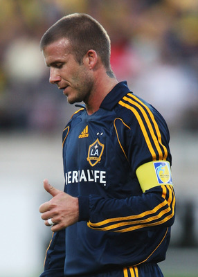 WELLINGTON, NEW ZEALAND - DECEMBER 01:  David Beckham during the friendly match between Wellington Phoenix FC and the LA Galaxy held at Westpac Stadium on December 1, 2007 in Wellington, New Zealand.  (Photo by Ross Land/Getty Images)