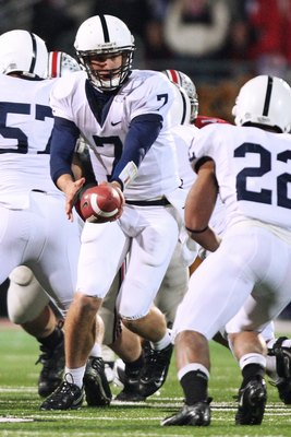 COLUMBUS, OH - OCTOBER 25: Quarterback Pat Devlin #7 of the Penn State Nittany Lions hands off the ball against the Ohio State Buckeyes on October 25, 2008 at Ohio Stadium in Columbus, Ohio.  (Photo by Jamie Sabau/Getty Images)