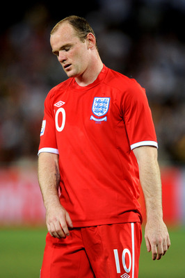 BLOEMFONTEIN, SOUTH AFRICA - JUNE 27:  Dejected Wayne Rooney of England after being knocked out of the tournament during the 2010 FIFA World Cup South Africa Round of Sixteen match between Germany and England at Free State Stadium on June 27, 2010 in Bloe
