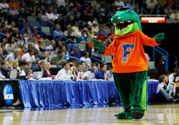 NEW ORLEANS, LA - MARCH 26:  Albert, the mascot for the Florida Gators, performs during their game against the Butler Bulldogs in the Southeast regional final of the 2011 NCAA men's basketball tournament at New Orleans Arena on March 26, 2011 in New Orlea