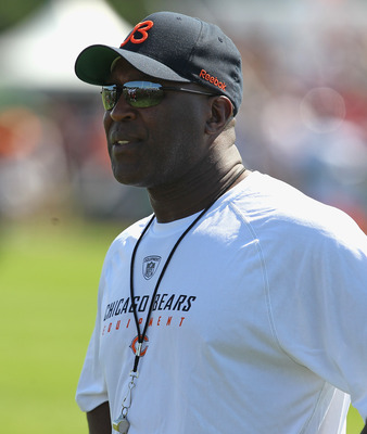 BOURBONNAIS, IL - JULY 30: Head coach Lovie Smith of the Chicago Bears watches out during a summer training camp practice at Olivet Nazarene University on July 30, 2011 in Bourbonnais, Illinois. (Photo by Jonathan Daniel/Getty Images)