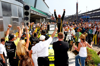 INDIANAPOLIS, IN - JULY 31:  Paul Menard, driver of the #27 NIBCO/Menards Chevrolet, celebrates in Victory Lane after winning the NASCAR Sprint Cup Series Brickyard 400 at Indianapolis Motor Speedway on July 31, 2011 in Indianapolis, Indiana.  (Photo by G