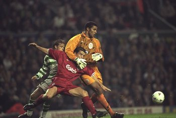 30 Sep 1997:  David James the Liverpool goalkeeper (right) tangles with his defender, Stig Inge Bjornebye,  during the UEFA Cup first round second leg match against Celtic at Anfield in Liverpool, England. The match was drawn 0-0 and Liverpool progressedt