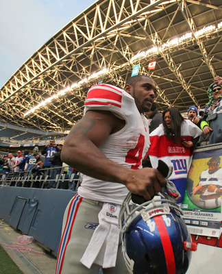 SEATTLE - NOVEMBER 07:  Running back Ahmad Bradshaw #44 of the New York Giants leaves the field after defeating the Seattle Seahawks 41-7 at Qwest Field on November 7, 2010 in Seattle, Washington. The Giants defeated the Seahawks 41-7. (Photo by Otto Greu
