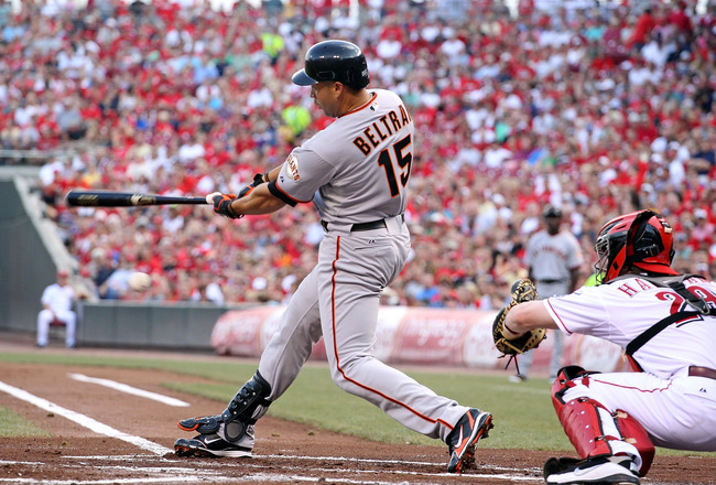 CINCINNATI, OH - JULY 30:  Carlos Beltran #15 of the San Francisco swings at a pitch during the game against the Cincinnati Reds at Great American Ball Park on July 30, 2011 in Cincinnati, Ohio.  (Photo by Andy Lyons/Getty Images)
