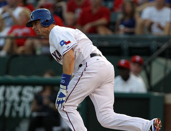 ARLINGTON, TX - JULY 27:  Michael Young #10 of the Texas Rangers at Rangers Ballpark in Arlington on July 27, 2011 in Arlington, Texas.  (Photo by Ronald Martinez/Getty Images)