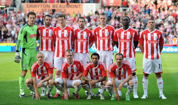 STOKE ON TRENT, ENGLAND - JULY 28:  Stoke City players line up for a team photograph before the Europa League 3rd Qualifying round first leg between Stoke City and Hajduk Split at Britannia Stadium on July 28, 2011 in Stoke on Trent, England. (Picture by