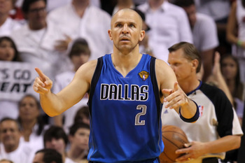 MIAMI, FL - JUNE 12:  Jason Kidd #2 of the Dallas Mavericks gestures on court against the Miami Heat in Game Six of the 2011 NBA Finals at American Airlines Arena on June 12, 2011 in Miami, Florida. NOTE TO USER: User expressly acknowledges and agrees tha