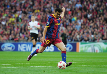 LONDON, ENGLAND - MAY 28:  Pedro of FC Barcelona scores the opening goal during the UEFA Champions League final between FC Barcelona and Manchester United FC at Wembley Stadium on May 28, 2011 in London, England.  (Photo by Shaun Botterill/Getty Images)
