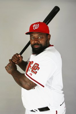 VIERA, FL - FEBRUARY 21:  Dmitri Young #21 of the Washington Nationals poses during photo day at Roger Dean Stadium on February 21, 2009 in Viera, Florida.  (Photo by Doug Benc/Getty Images)