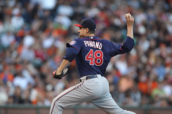 SAN FRANCISCO, CA - JUNE 21:  Carl Pavano #48 of the Minnesota Twins pitches against the San Francisco Giants during an MLB game at AT&T Park on June 21, 2011 in San Francisco, California.  (Photo by Jed Jacobsohn/Getty Images)