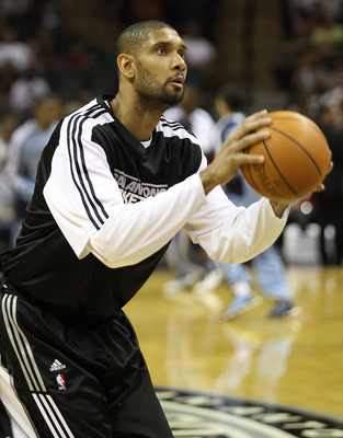 SAN ANTONIO, TX - APRIL 27:  Tim Duncan #21 of the San Antionio Spurs warms up prior to his game against the Memphis Grizzlies in Game Five of the Western Conference Quarterfinals in the 2011 NBA Playoffs on April 27, 2011 at AT&T Center in San Antonio, T