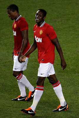 HARRISON, NJ - JULY 27:  Danny Welbeck #19 of the Manchester United celebrates his goal against the MLS All-Stars with teammate Patrice Evra #3 during the second half of the MLS All-Star Game at Red Bull Arena on July 27, 2011 in Harrison, New Jersey.  (P
