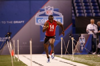 INDIANAPOLIS, IN - FEBRUARY 28: Wide receiver Marcus Easley of Connecticut runs the 40 yard dash during the NFL Scouting Combine presented by Under Armour at Lucas Oil Stadium on February 28, 2010 in Indianapolis, Indiana. (Photo by Scott Boehm/Getty Imag