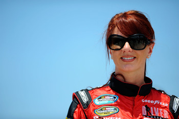 DAYTONA BEACH, FL - JULY 01:  Jennifer Jo Cobb, driver of the #13 Keen's Portable Buildings Ford, looks on during qualifying for the NASCAR Nationwide Series Subway Jalapeno 250 Powered by Coca-Cola at Daytona International Speedway on July 1, 2011 in Day