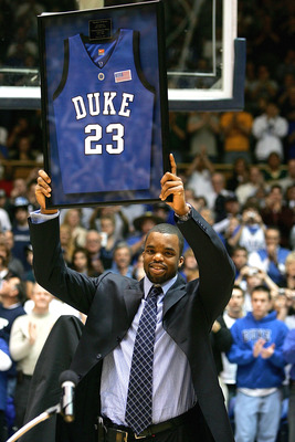 DURHAM, NC - JANUARY 28: Former Duke Blue Devil Shelden Williams has his jersey retired during halftime of the game against the Boston College Eagles at Cameron Indoor Stadium on January 28, 2007 in Durham, North Carolina.  (Photo by Streeter Lecka/Getty