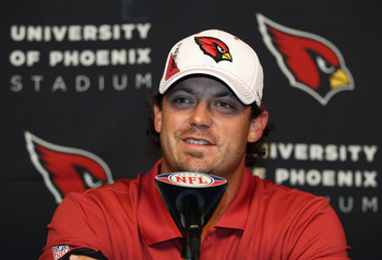 TEMPE, AZ - JULY 29:  Quarterback Kevin Kolb #4 of the Arizona Cardinals speaks at a press conference to introduce him at the team's training center facility on July 29, 2011 in Tempe, Arizona.  (Photo by Christian Petersen/Getty Images)