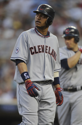 MINNEAPOLIS, MN - JULY 19: Orlando Cabrera #20 of the Cleveland Indians reacts to popping out with the bases loaded against the Minnesota Twins in the fifth inning on July 19, 2011 at Target Field in Minneapolis, Minnesota. (Photo by Hannah Foslien/Getty