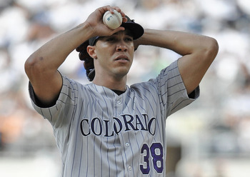 SAN DIEGO, CA - JULY 30: Ubaldo Jimenez #38 of the Colorado Rockies stands on the mound after giving up four runs during the first inning of a baseball game against the San Diego Padres at Petco Park on July 30, 2011 in San Diego, California. In a recent