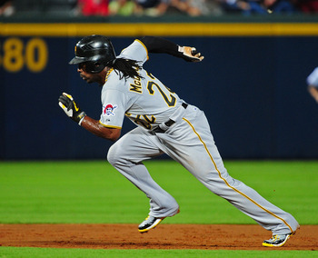 ATLANTA - JULY 25: Andrew McCutchen #22 of the Pittsburgh Pirates runs against the Atlanta Braves at Turner Field on July 25, 2011 in Atlanta, Georgia. (Photo by Scott Cunningham/Getty Images)