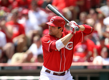 CINCINNATI, OH - JULY 31:  Joey Votto #19 of the Cincinnati Reds is at bat during the game against the San Francisco Giants at Great American Ball Park on July 31, 2011 in Cincinnati, Ohio.  (Photo by Andy Lyons/Getty Images)