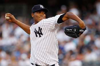 NEW YORK, NY - JULY 30:  Ivan Nova #47 of the New York Yankees delivers a pitch in the first inning against the Baltimore Orioles on July 30, 2011 at Yankee Stadium in the Bronx borough of New York City.  (Photo by Mike Stobe/Getty Images)