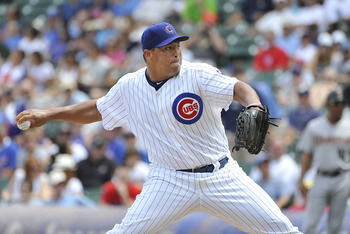 CHICAGO, IL - JULY 22:  Carlos Zambrano #38 of the Chicago Cubs delivers during the first inning against the Houston Astros at Wrigley Field on July 22, 2011 in Chicago, Illinois. The Cubs won 4-2.  (Photo by Brian Kersey/Getty Images)