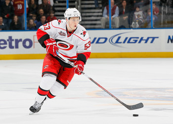 ATLANTA, GA - DECEMBER 16:  Jeff Skinner #53 of the Carolina Hurricanes against the Atlanta Thrashers at Philips Arena on December 16, 2010 in Atlanta, Georgia.  (Photo by Kevin C. Cox/Getty Images)
