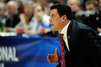 ANAHEIM, CA - MARCH 26:  Head coach Sean Miller of the Arizona Wildcats shouts from the bench during the west regional final of the 2011 NCAA men's basketball tournament at the Honda Center on March 26, 2011 in Anaheim, California.  (Photo by Kevork Djans