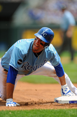 KANSAS CITY, MO - JUNE 26:  Jeff Francoeur #21 of the Kansas City Royals reacts after being thrown out attempting to steal third base against the Chicago Cubs at Kauffman Stadium on June 26, 2011 in Kansas City, Missouri. (Photo by G. Newman Lowrance/Gett