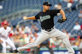 WASHINGTON, DC - JULY 27: Javier Vazquez #23 of the Florida Marlins delivers a pitch against the Washington Nationals at Nationals Park on July 27, 2011 in Washington, DC. The Marlins won 7-5. (Photo by Ned Dishman/Getty Images)