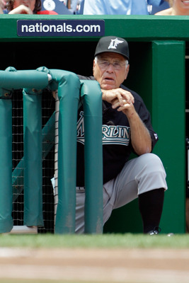 WASHINGTON, DC - JULY 28: Manager Jack McKeon of the Florida Marlins is shown during the Marlins game against the Washington Nationals at Nationals Park on July 28, 2011 in Washington, DC. (Photo by Rob Carr/Getty Images)