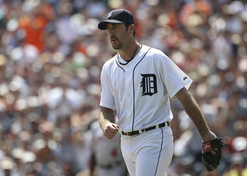 DETROIT - JULY 31: Justin Verlander #35 of the Detroit Tigers reacts after giving up the first hit of the game to Maicer Izturis #13 of the Los Angeles Angels of Anaheim in the eight inning during the game at Comerica Park on July 31, 2011 in Detroit, Mic