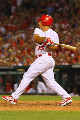 ST. LOUIS, MO - JULY 31: Newly acquired shortstop Rafael Furcal #15 of the St. Louis Cardinals pinch hits against the Chicago Cubs at Busch Stadium on July 31, 2011 in St. Louis, Missouri.  The Cubs beat the Cardinals 6-3.  (Photo by Dilip Vishwanat/Getty