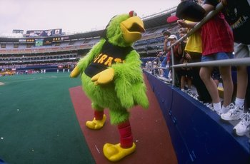 14 Jun 1998:  The Mascot of the Pittsburgh Pirates entertaining the fans before the game against the Milwaukee Brewers at the Three Rivers Stadium in Pittsburgh, Pennsylvania. The Pirates defeated the Brewers 7-2. Mandatory Credit: Ken White  /Allsport