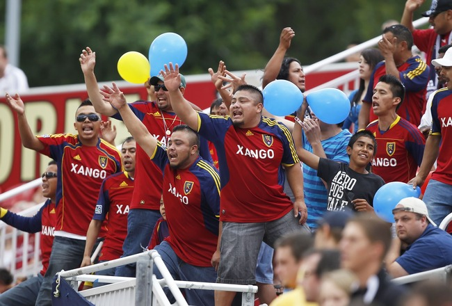 SANDY, UT - JULY 30: Fans of Real Salt Lake cheer during a game against the Columbus Crew during the first half of an MLS soccer game July 30, 2011 at Rio Tinto Stadium in Sandy, Utah. The Columbus Crew beat Real Salt Lake 2-0. (Photo by George Frey/Getty
