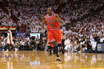 MIAMI, FL - MAY 24:  Luol Deng #9 of the Chicago Bulls reacts against the Miami Heat in Game Four of the Eastern Conference Finals during the 2011 NBA Playoffs on May 24, 2011 at American Airlines Arena in Miami, Florida. The Heat won 101-93 in overtime.